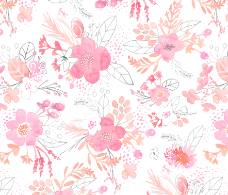 Pink Watercolor Bouquet LARGE fabric by emilysanford on Spoonflower - custom fabric