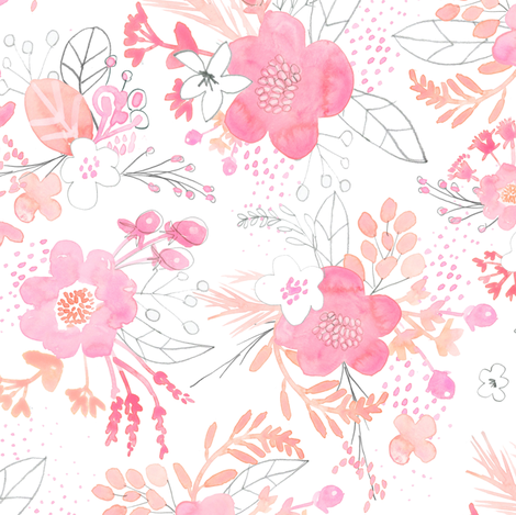 Pink Watercolor Bouquet SMALL fabric by emilysanford on Spoonflower - custom fabric