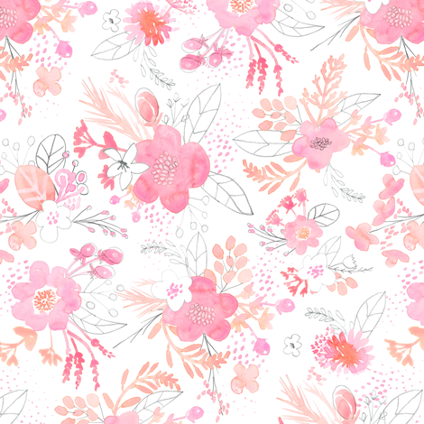 Pink Watercolor Bouquet MINI fabric by emilysanford on Spoonflower - custom fabric