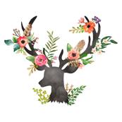 Mini Floral Rustic Deer