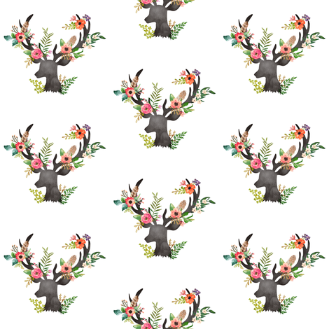 Mini Floral Rustic Deer fabric by shopcabin on Spoonflower - custom fabric
