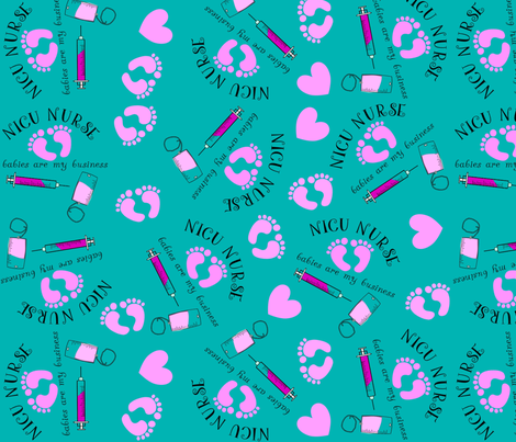 NICU Nurse Teal and Pink fabric by hot4tees_bg@yahoo_com on Spoonflower - custom fabric