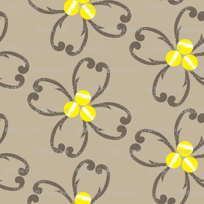 Textured Taupe Floral on Tan_Miss Chiff Designs