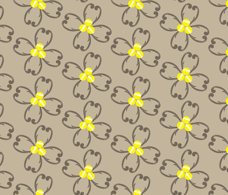Textured Taupe Floral on Tan_Miss Chiff Designs fabric by misschiffdesigns on Spoonflower - custom fabric
