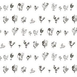 Bird doodles / black and white