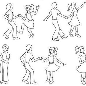 RnR dancers : black and white outline