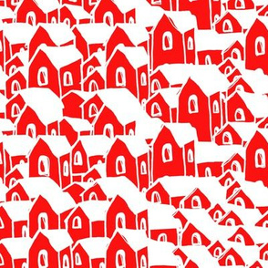 Houses red with white roof