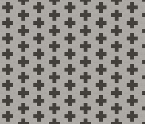 Gray Sketch Crosses Linen fabric by tycdesignco on Spoonflower - custom fabric