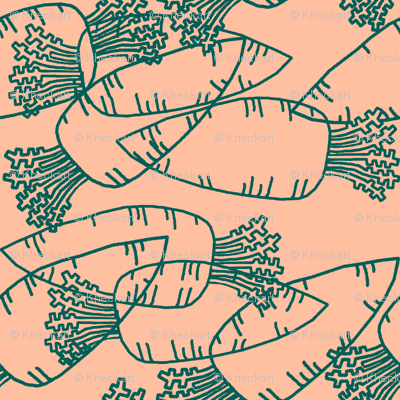 Dream Hare - carrots line peach