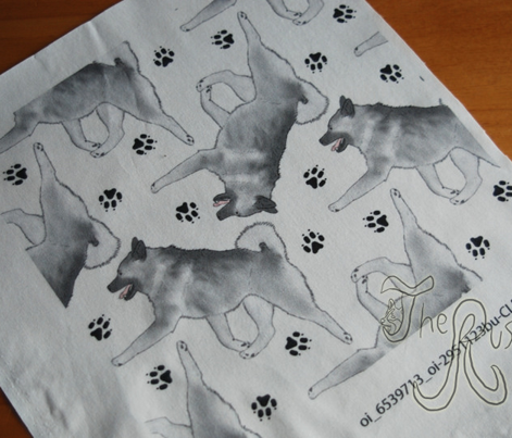 Trotting Norwegian Elkhound and paw prints - white