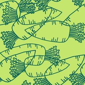Dream Hare - carrots line green