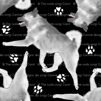 Trotting Norwegian Elkhound and paw prints - black