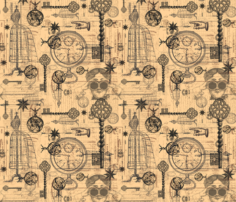 Victorian Travel Off White fabric by costumewrangler on Spoonflower - custom fabric