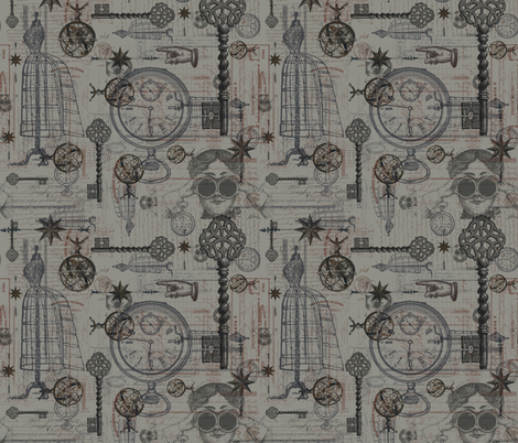 Victorian Travel Grey fabric by costumewrangler on Spoonflower - custom fabric