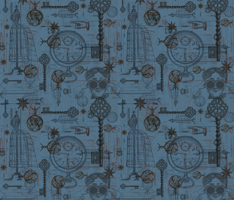 Victorian Travel Blue fabric by costumewrangler on Spoonflower - custom fabric