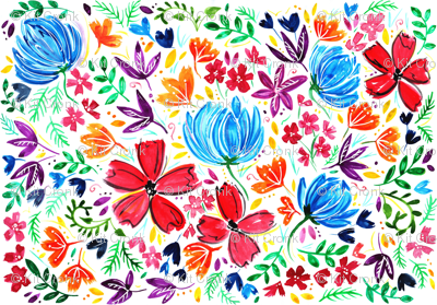 Watercolour Rainbow Flower Design