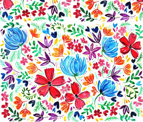 Watercolour Rainbow Flower Design fabric by kitcronk on Spoonflower - custom fabric