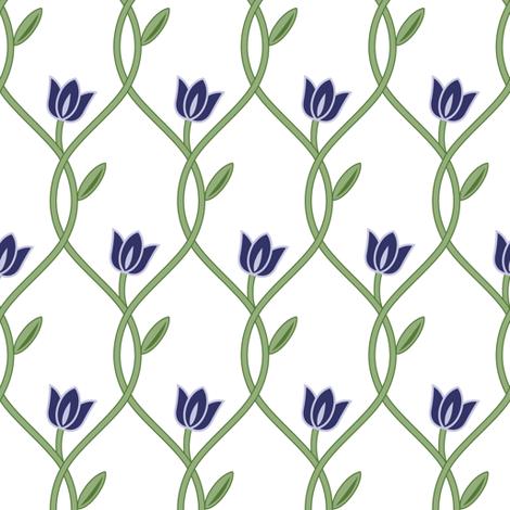 Flowerlines_Blue fabric by align_design on Spoonflower - custom fabric