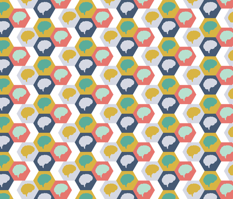 Brain | Aqua Gold Turquoise fabric by handmadephd on Spoonflower - custom fabric