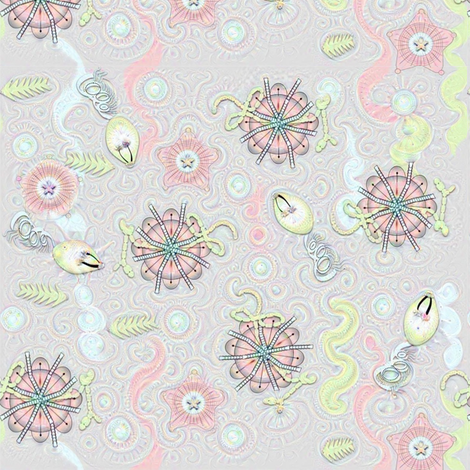 Ancient Sea Creatures in grey, pink and blue fabric by gargoylesentry on Spoonflower - custom fabric