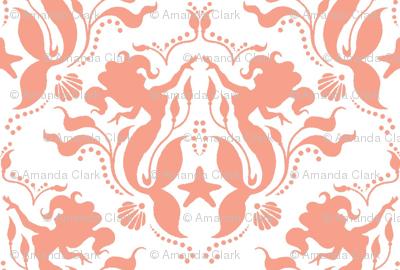 Mermaid Damask Coral-White