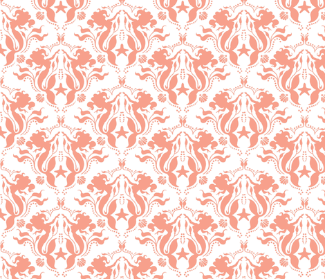 Mermaid Damask Coral-White fabric by sugarpinedesign on Spoonflower - custom fabric