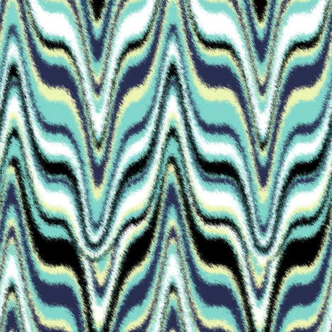 Furry Marbleized Fox Mask Turquoise fabric by eclectic_house on Spoonflower - custom fabric