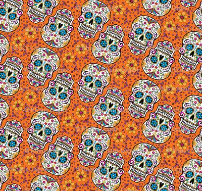Sugar Skull Day Of The Dead Orange