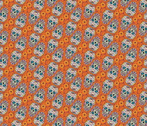 Sugar Skull Day Of The Dead Orange fabric by khaus on Spoonflower - custom fabric