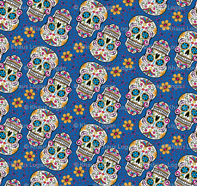 Sugar Skull Day Of The Dead Carolina Blue