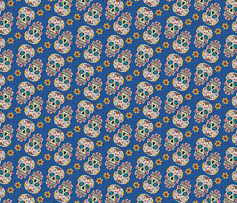 Sugar Skull Day Of The Dead Carolina Blue fabric by khaus on Spoonflower - custom fabric