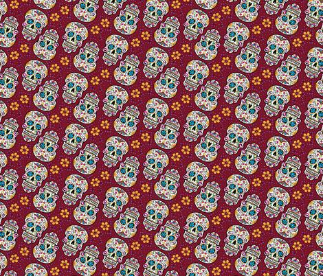 Sugar Skull Day Of The Dead Garnet fabric by khaus on Spoonflower - custom fabric