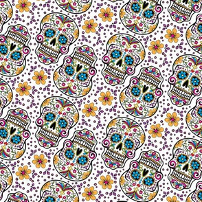 Sugar Skull Day Of The Dead White