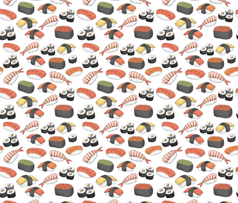 Sushi Roll Funny Food fabric by furbuddy on Spoonflower - custom fabric