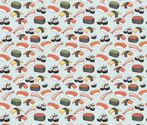 Sushi Roll Funny Food fabric by khaus on Spoonflower - custom fabric