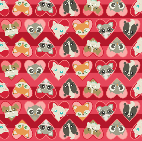 Valentine Animal Faces fabric by dorkydoodles on Spoonflower - custom fabric