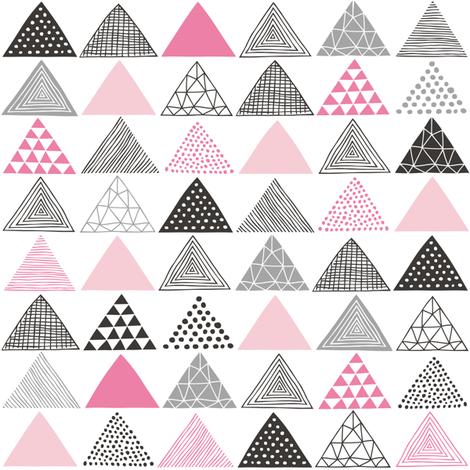 Triangles Geometric Pink fabric by caja_design on Spoonflower - custom fabric