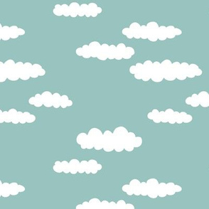 Dreams and clouds cool trendy scandinavian style hand drawn sky print blue