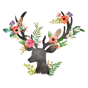 Two Purple Flowers Mini Floral Deer