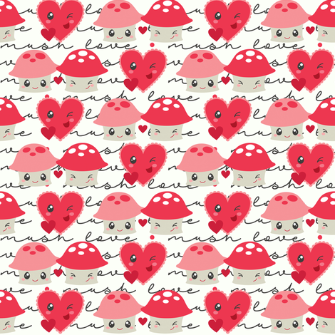 Mushroom Love fabric by dorkydoodles on Spoonflower - custom fabric