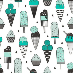 Ice Cream Geometric Triangles in Mint Green