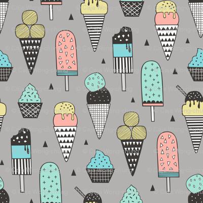Ice Cream Geometric Triangles on Grey