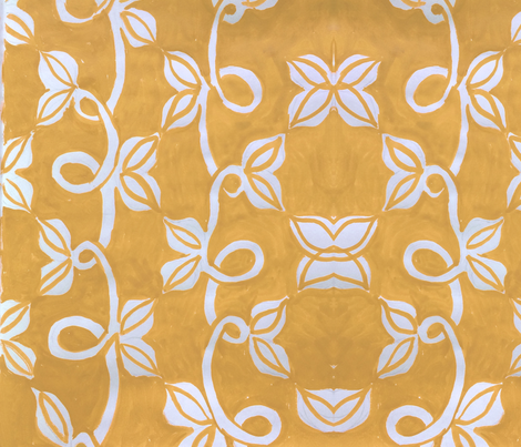 White Vines on an Ocher Wall fabric by megan_elizabeth on Spoonflower - custom fabric