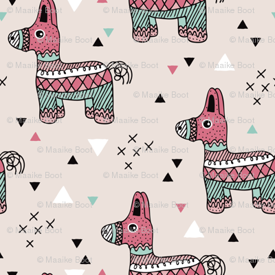 Let's have a Mexican piñata birthday party geometric illustration for girls