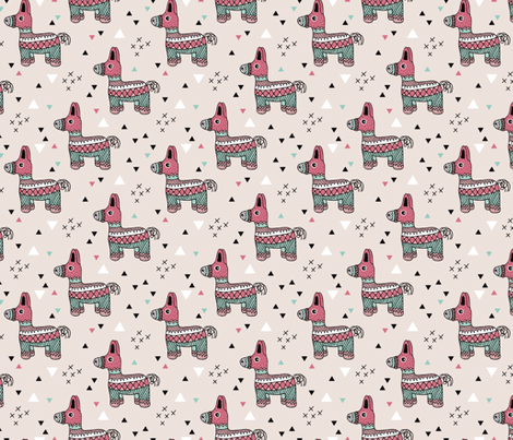 Let's have a Mexican piñata birthday party geometric illustration for girls fabric by littlesmilemakers on Spoonflower - custom fabric
