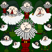 Primitive Santa's Christmas Fabric #13