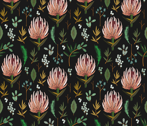 floral_study_dark fabric by holli_zollinger on Spoonflower - custom fabric