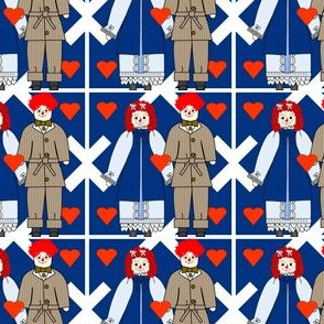 Colonial Raggedies Dolls Anne and Andy and Hearts Fabric #2