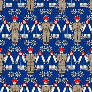 Colonial Raggedies Ann and Andy Dolls and Flowers Fabric #3
