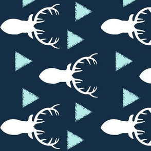 Navy White Sky Blue Deer Heads Triangles Rotated